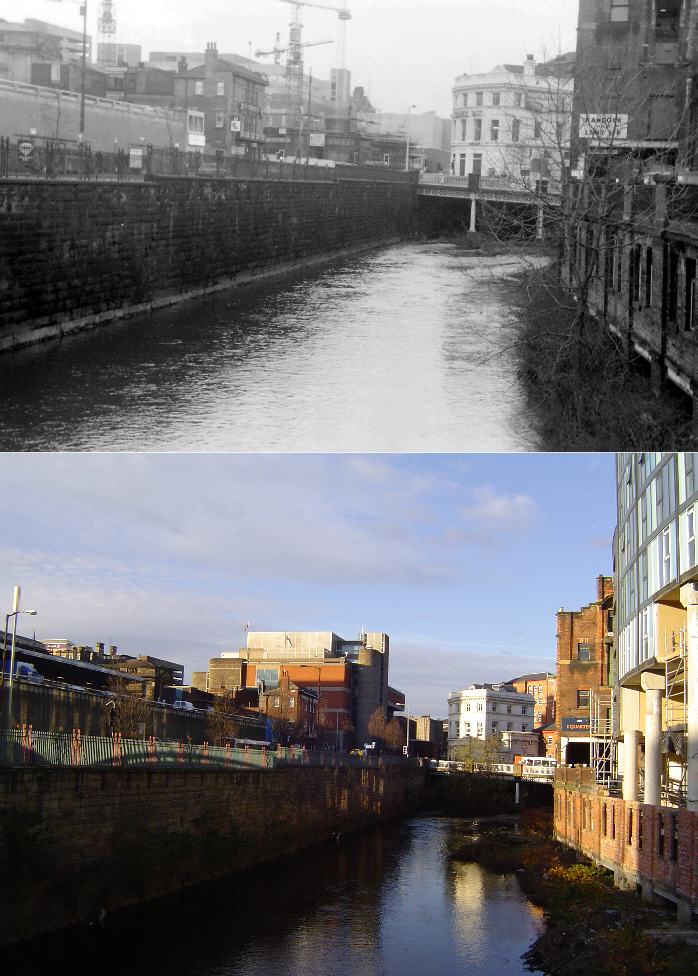 Looking towards Lady's bridge 1974/2008, photos by DaveH