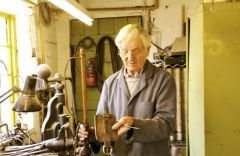 Stan Shaw in his workshop Garden Street