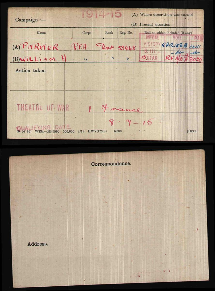 War Medal Card