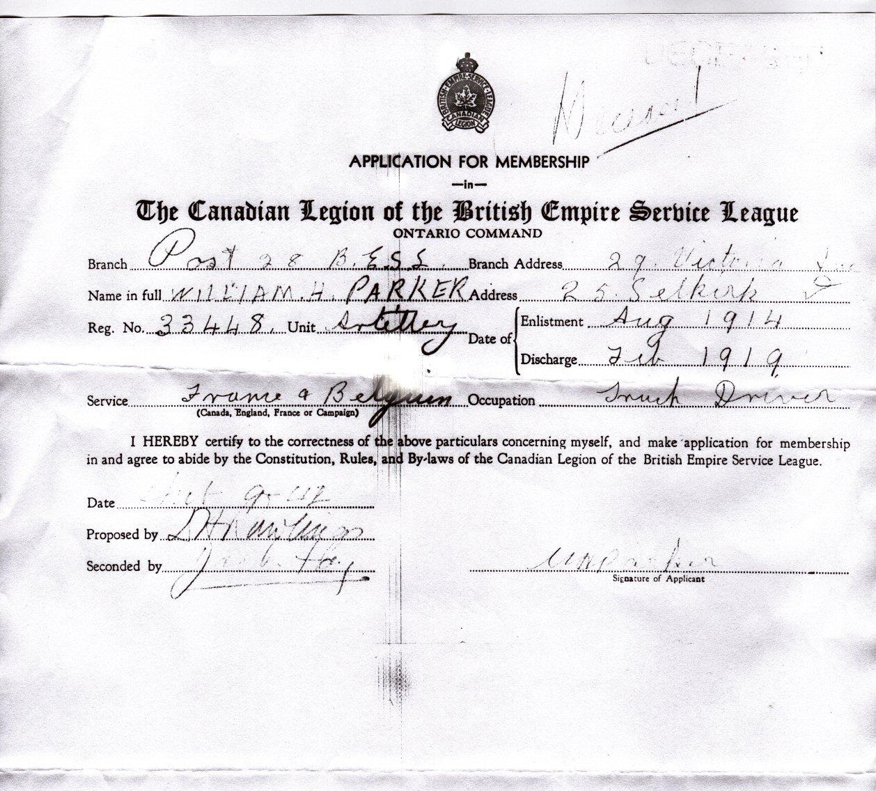 Application to Legion for Membership