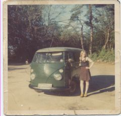 alison with Vw Van bovington