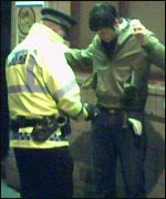 Jon being searched in Oldham