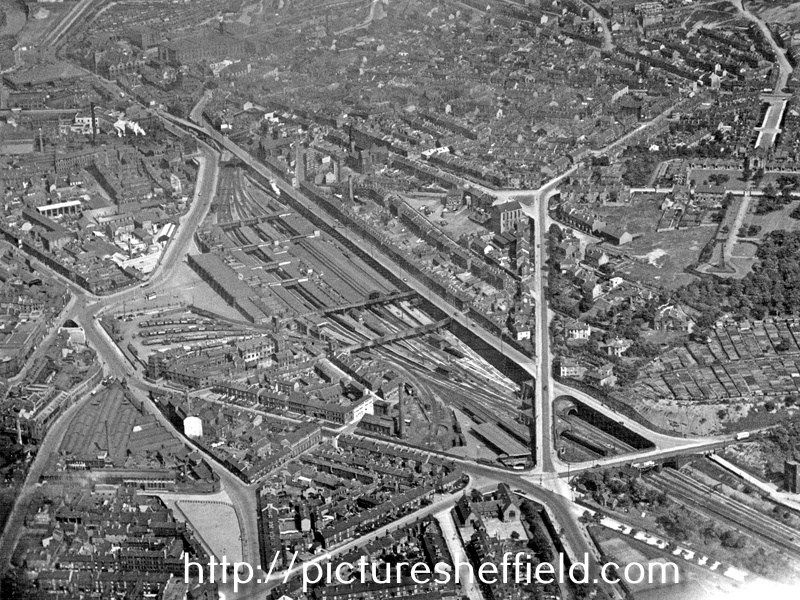 Aerial View- City Centre and Park including Sheaf Street leading to Midland Station, centre, Granville Street behind, Shrewsbury Road leading to South Street Park, Shrewsbury Hospital, extreme right and Tram Car Depot, Leadmill Road, bottom left