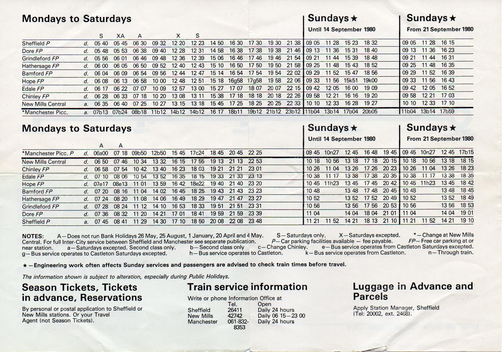 Paytrain timetable 1980 sheffield buses trams trains for Timetable 85 sheffield
