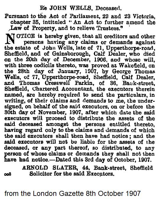 John Wells London Gazette 1907.png