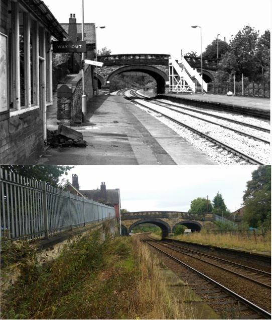 Chapeltown Station before being moved a couple of hundred metres down the track to the side of the Asda. Then & Now