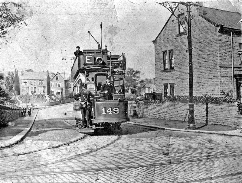 Tram No. 149, around 1912, at junction of Batley Street and Barnsley Road, Crabtree Lane.jpg