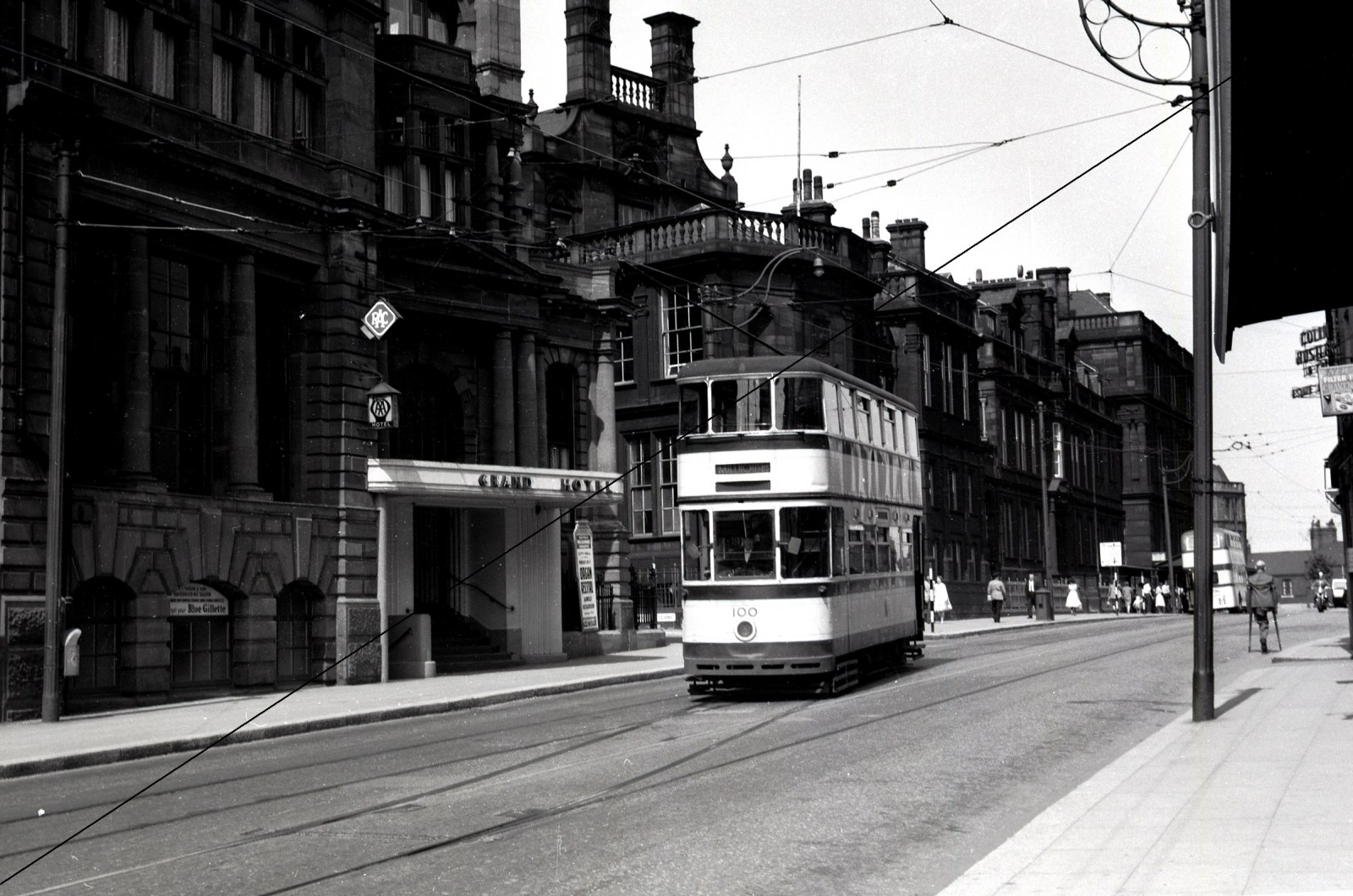 PT120-Sheffield Transport No.100 Passing The Grand Hotel, Leopold Street, Sheffield-30-09-1960 - Web Copy.jpg