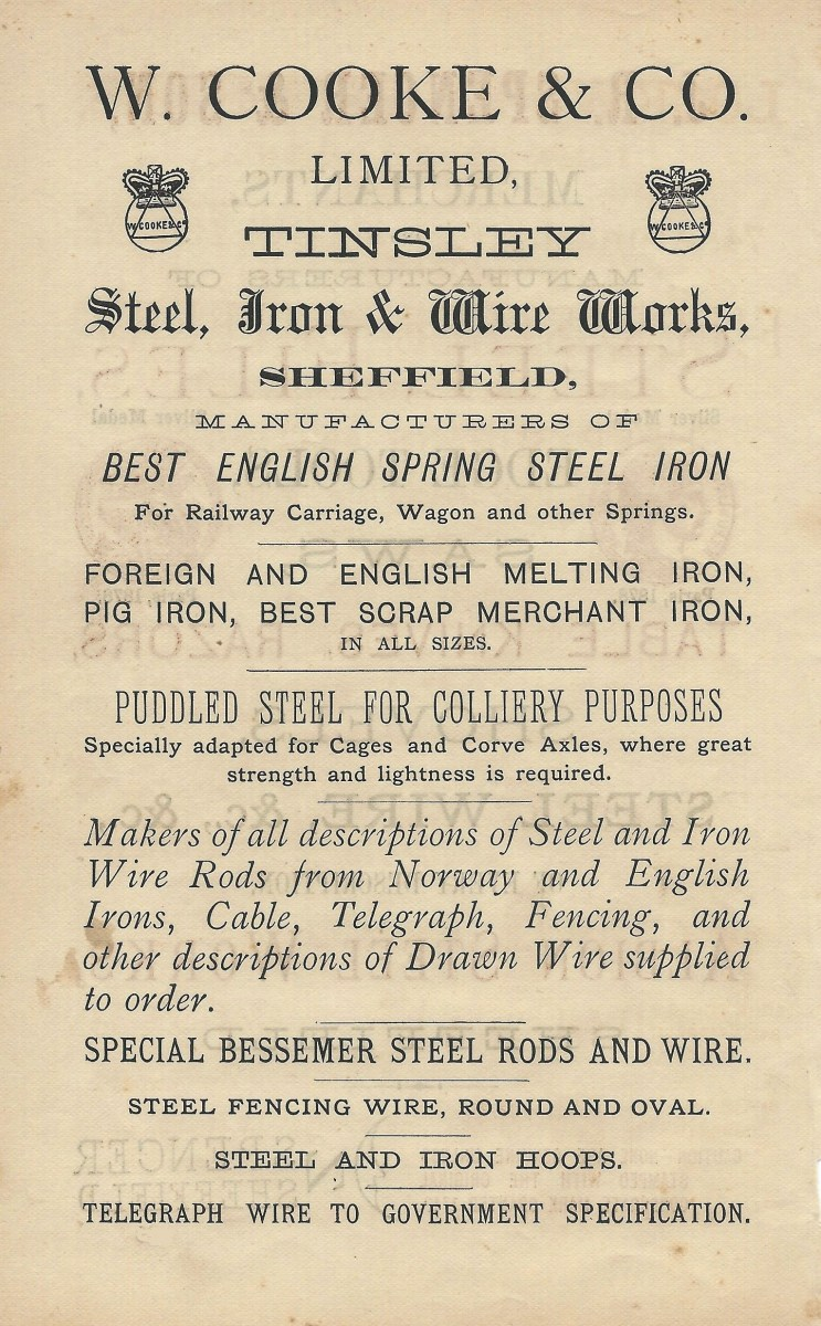 W.Cooke & Company Limited, Tinsley-Advertisement-1876.jpg