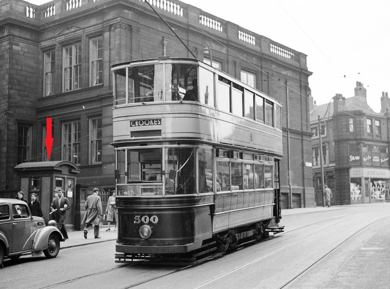 PT332-Sheffield Transport No.500 at West Street, between junctions of Holly Street & Leopold Street, Sheffield-24-10-1953-EDITED.jpg