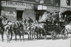 Coach and Four outside Borough Mews owned by Joseph Tomlinson & Sons Ltd