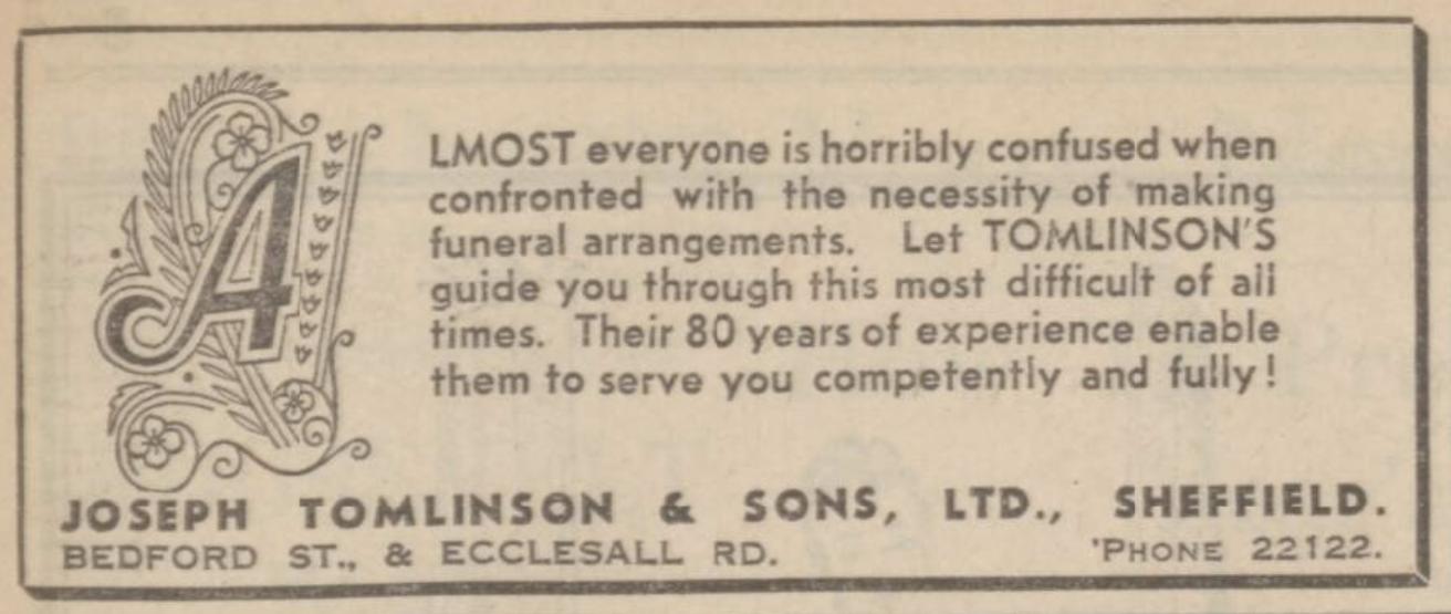 Joseph Tomlinson & Sons Ltd. advert 1939