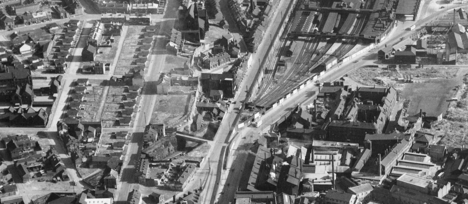 The city centre, Sheffield, 1950 Prefabs.jpg