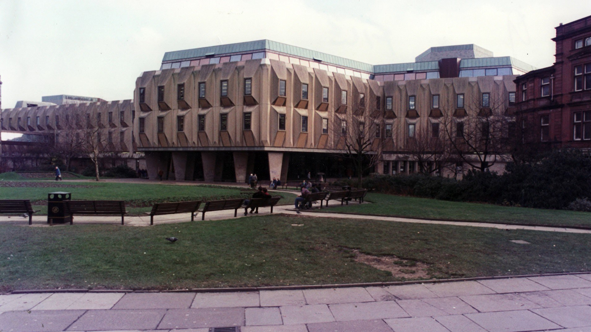 The old Sheffield Peace Gardens and Town Hall 'Egg Box' Extension