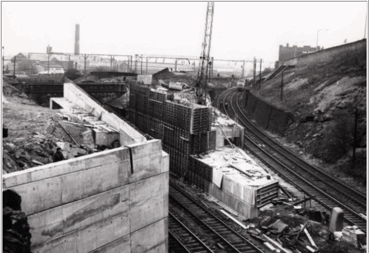 Railway construction work below (right) Bernard Road 1979.jpg