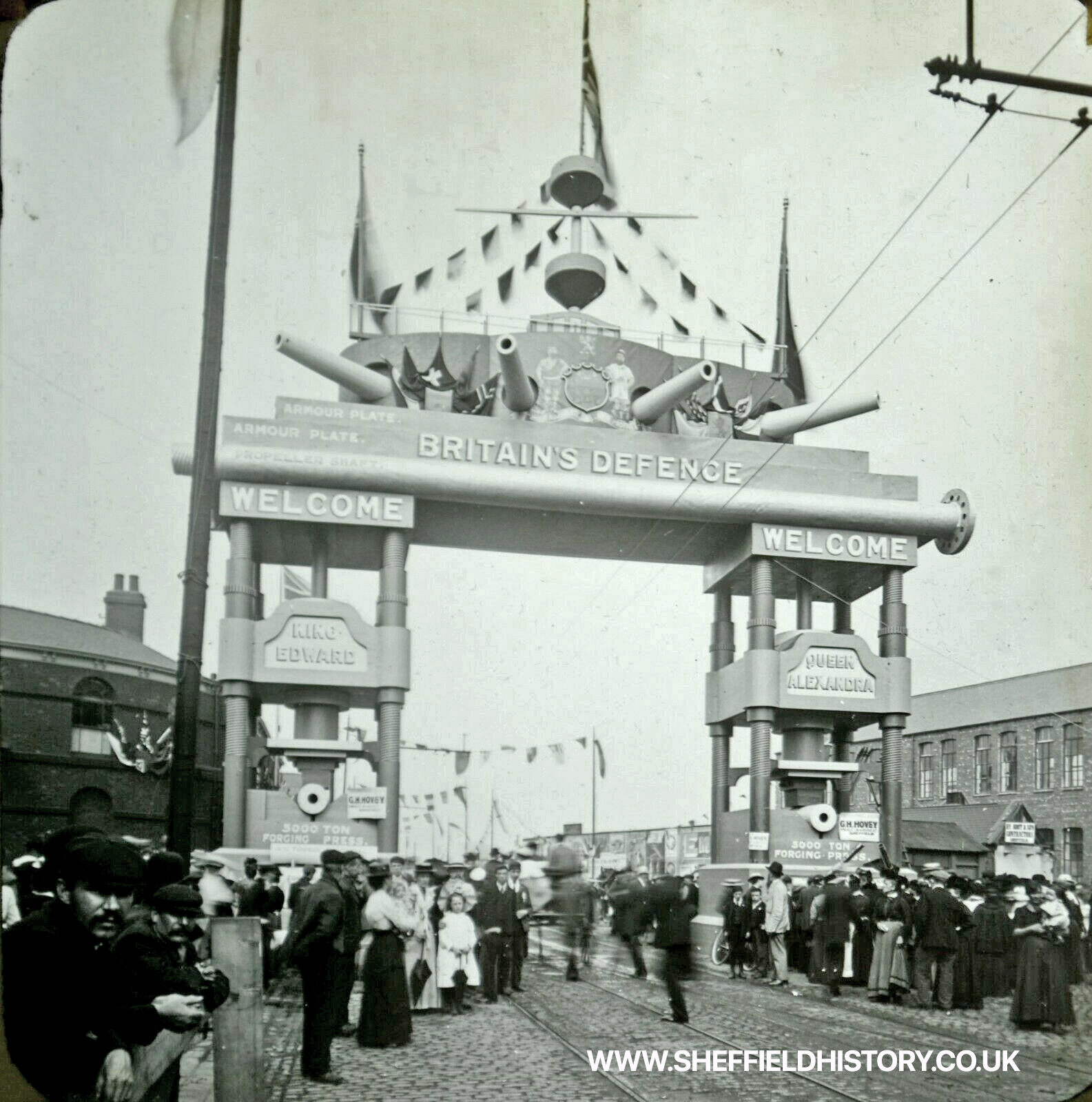 King Edward Queen Alexandra visit to Sheffield - The Armour Plate Archway