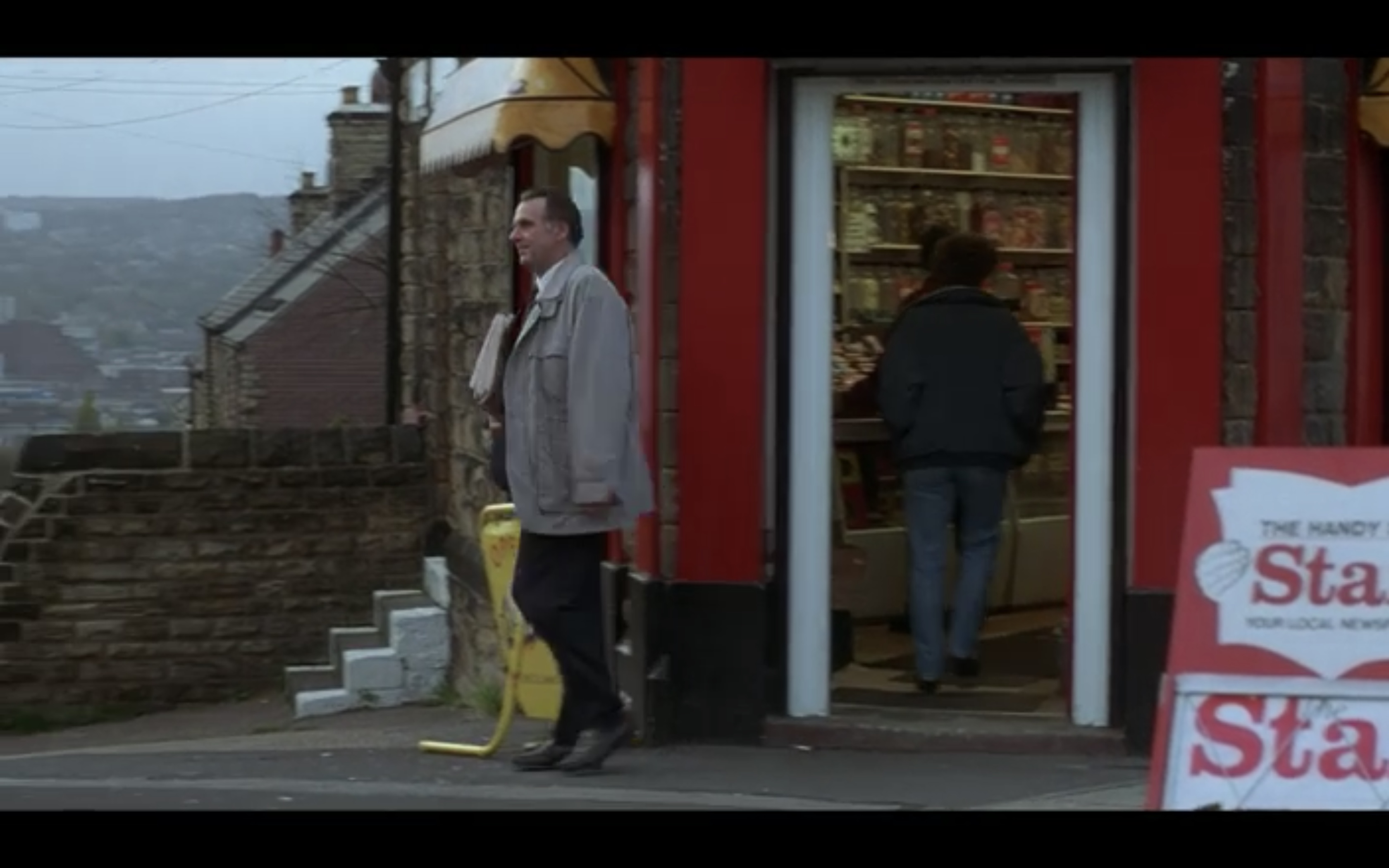 Gerald comes out of the Newsagents on Granville Road (Full Monty Filming Location)