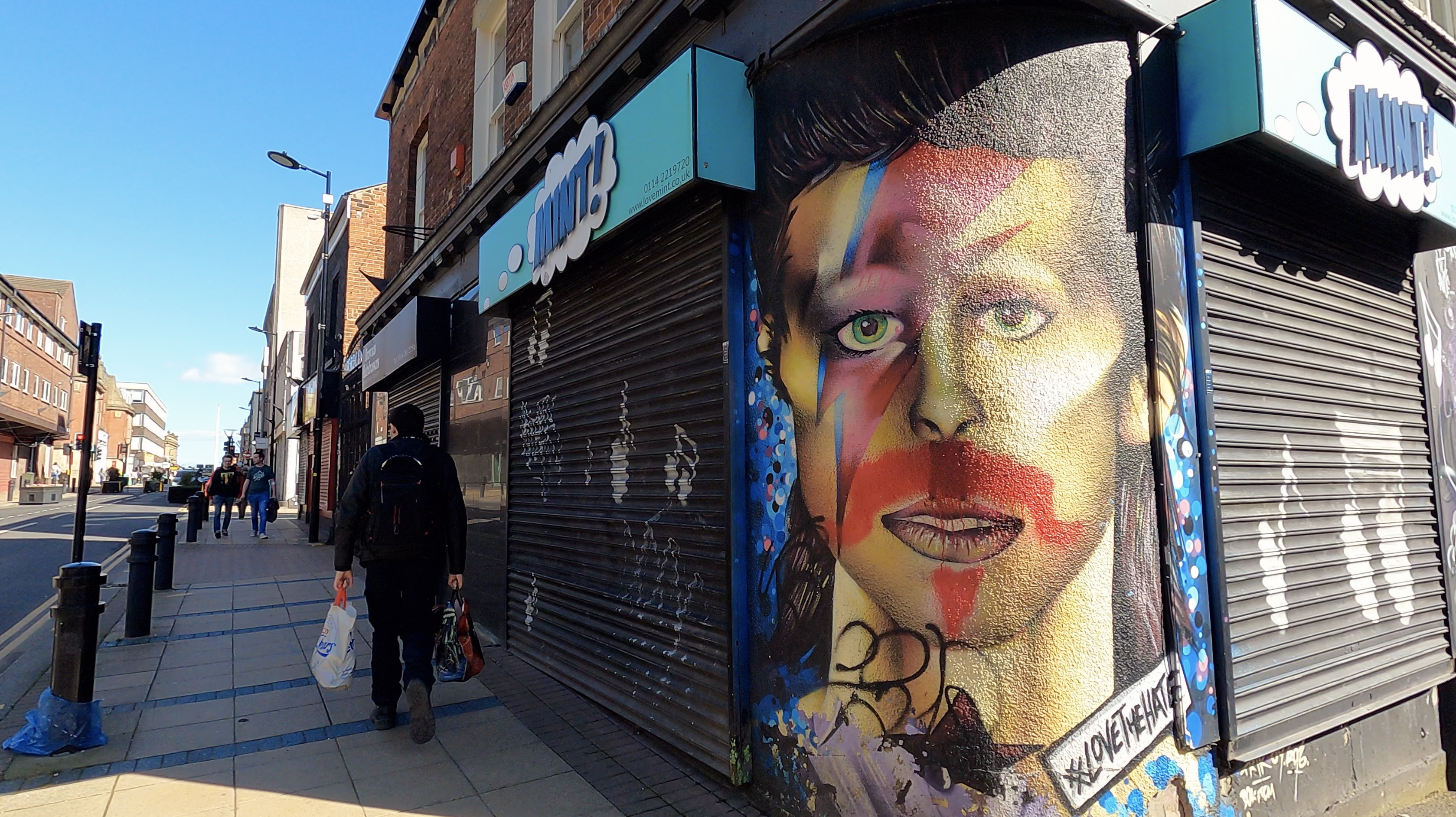 Someone has ruined the David Bowie / Pat Sharp Mural on Division Street