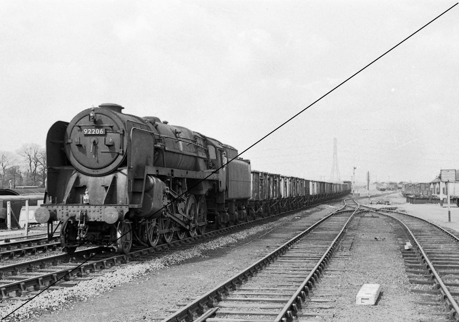 CAI526-SW-1959, Class BR9F, No.92206, (Shed Code.50A, York North), approaching Beighton Station Signal Box & Level Crossing, view looking North-18-04-1964.jpg